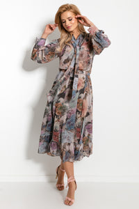F913 Floral Two Piece Set Midi Dress In Beige