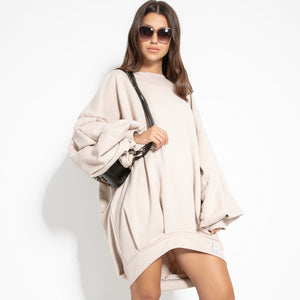F1126 Cotton-Blend Volume Sleeve Sweatshirt Mini Dress In Beige