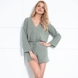 F1020 Two Pieces Set Blouse & Shorts In Olive