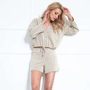 F1020 Two Pieces Set Blouse & Shorts In Beige