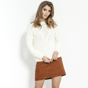 F861 High-Neck Chunky-Knit Sweater In Ecru