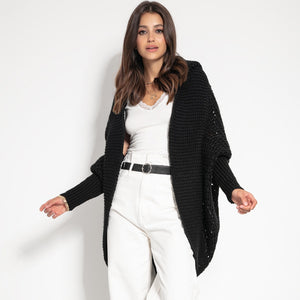 F1072 Shrug Hooded Oversized Openwork Alpaca-Blend Cardigan In Black