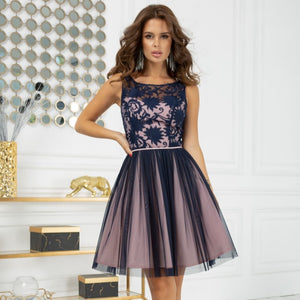 2207-11 Fit & Flare Tulle Mini Dress In Navy-Pink