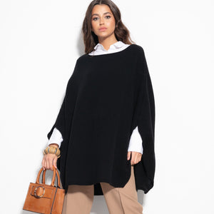 F1108 Oversized Wool Poncho In Black