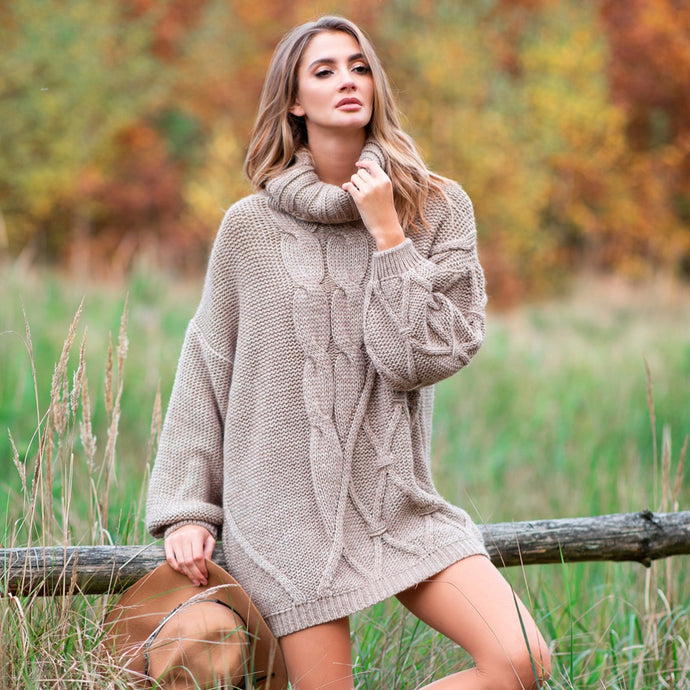 F844 Roll Neck Oversized Jumper Dress In Brown