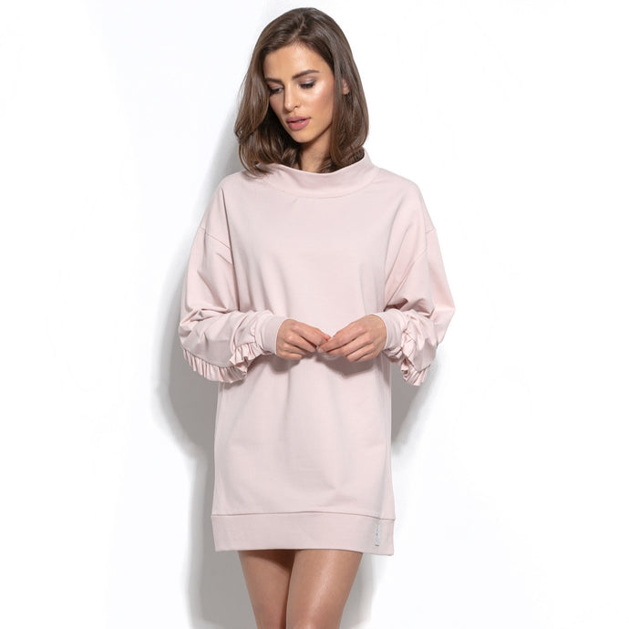F933 Cotton Long Sweatshirt Tunic With Frill Detailing In Pink