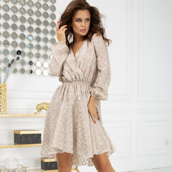 2216-21 High-Low Leo Pattern Mini Dress In Beige