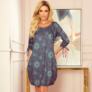 281-5 Mandala Print Shift Mini Dress with Pockets In Green