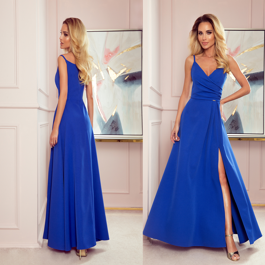 299-3 Wrap Effect Straps Maxi Dress In Blue