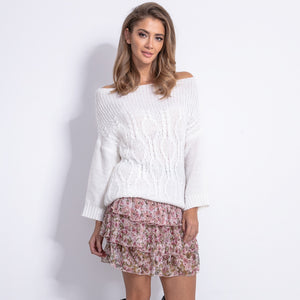 F836 Cable-Knitted Jumper In Ecru