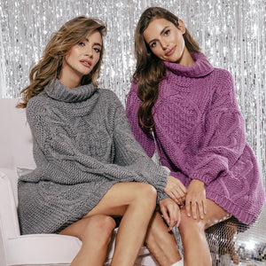 F859 Alpaca-Blend Jumper Mini Dress In Purple