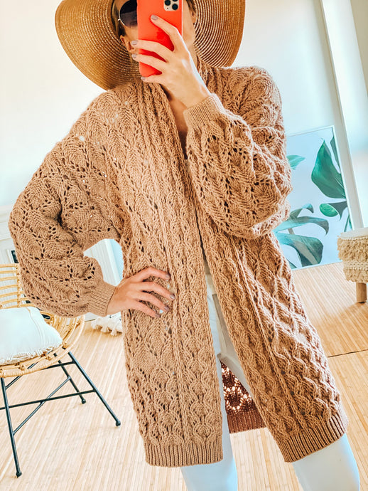F1027 Long Cardigan With Eyelet Stitching In Apricot