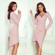 290-1 Asymmetric Wrap Detailing Dress In Dusty Pink