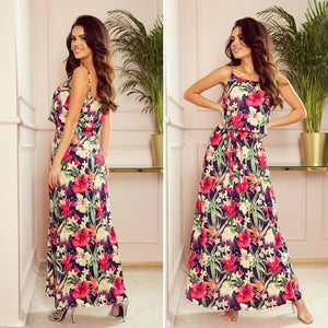 294-1 Floral Print Spaghetti Strap Maxi Dress In Navy