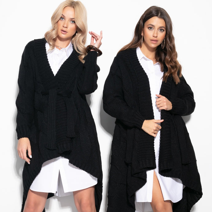 F1109 Oversized Cable-Knit Belted Cardigan In Black