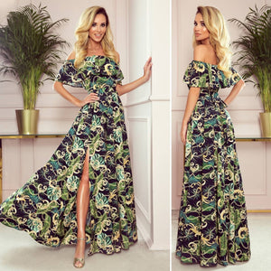 194-4 Off The Shoulder Leaf Printed Maxi Dress In Black