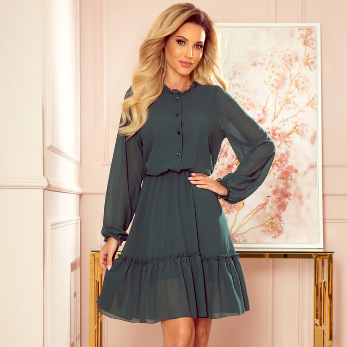 335-1 Chiffon Ruffled Buttoned Mini Dress In Bottle Green