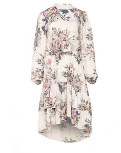 F1011 Asymmetrical Belted Dress In Beige Floral Print
