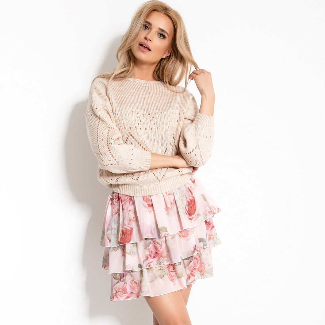 F904 Floral Ruffled Mini Skirt In Pink