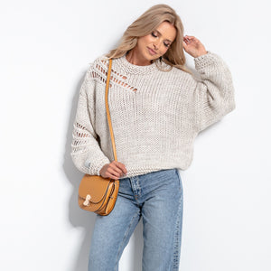 F1054 Oversized Chunky Knit Alpaca-Blend Jumper In Beige Melange