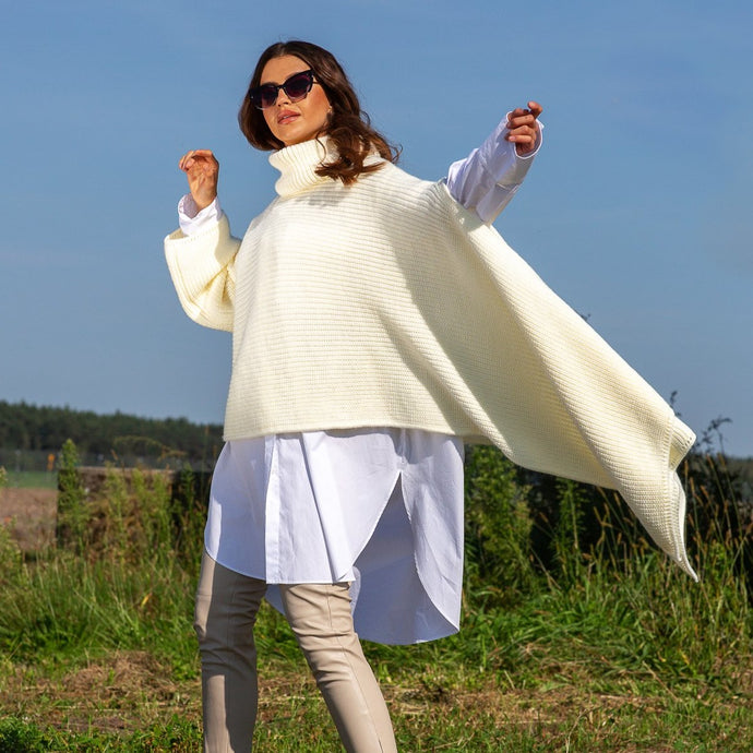 F1098 Oversized Asymmetric Turtleneck Sleeve Poncho In Ecru