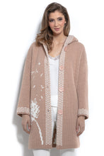F963 Oversized Floral Hooded Knitted Cardigan In Apricot