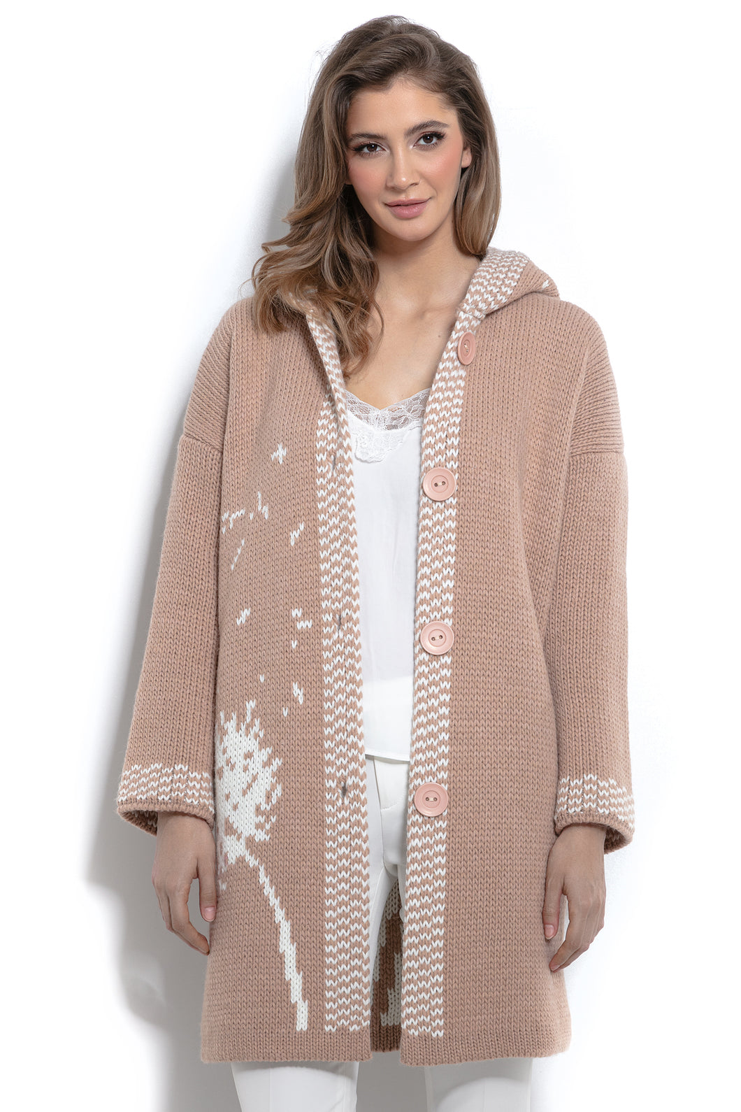 F963 Floral Knit Alpaca-Blend Cardigan In Apricot
