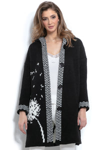 F963 Oversized Floral Hooded Knitted Cardigan In Black