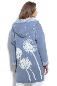 F963 Oversized Floral Hooded Knitted Cardigan In Blue