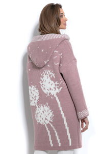 F963 Oversized Floral Hooded Knitted Cardigan In Pink