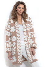 F965 Oversized Floral Knitted Cardigan In Apricot