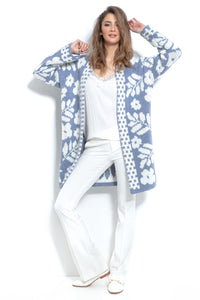 F965 Alpaca-Blend Floral Knitted Cardigan In Blue