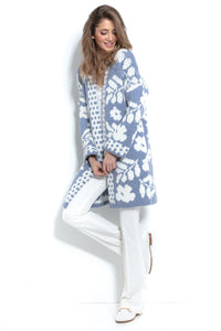 F965 Oversized Floral Knitted Cardigan In Blue