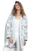 F965 Oversized Floral Knitted Cardigan In Gray