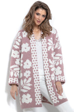 F965 Oversized Floral Knitted Cardigan In Pink