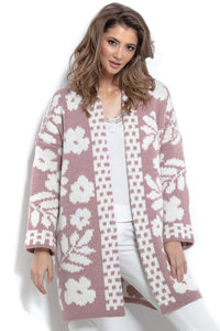 F965 Floral Knit Alpaca-Blend Cardigan In Pink