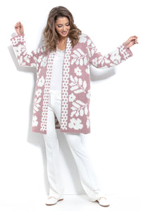 F965 Alpaca-Blend Floral Knitted Cardigan In Pink
