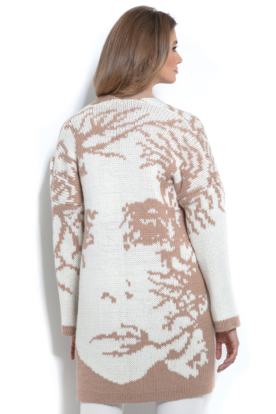 F968 Alpaca-Blend Face Pattern Knitted Cardigan In Apricot