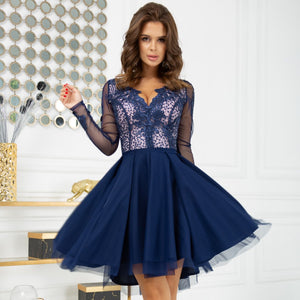2160-11 Tulle & Embroidered Mesh High-Low Mini Dress In Navy/Pink