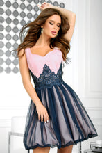 2214-11 Fit & Flare Tulle Mini Dress With Bubble Hem In Pink-Navy