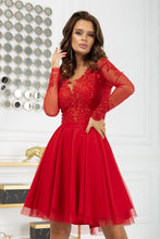 2160-02 Tulle & Embroidered Mesh High-Low Mini Dress In Red