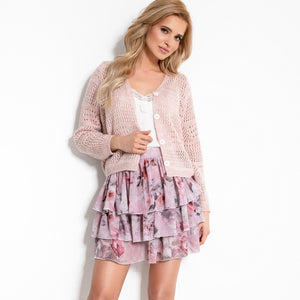 F906 Floral Ruffled Mini Skirt In Pink
