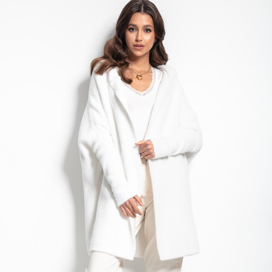F1084 Oversized Longline Hooded Fluffy Knit Cardigan In White
