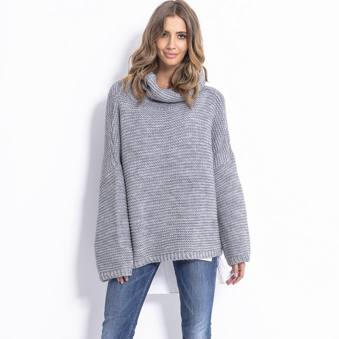 F811 Alpaca-Blend Turtleneck Sweater In Grey