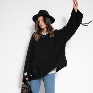 F1075 Chunky Knit Wide Oversized Sweater In Black