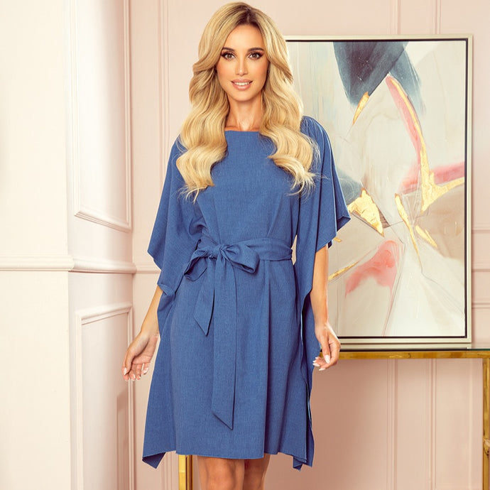 287-9 Butterfly Style Belted Mini Dress in Blue