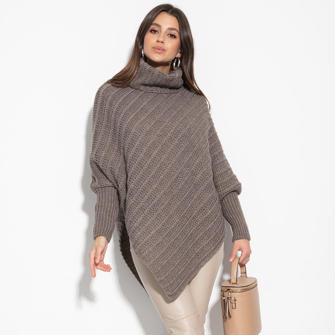 F1127 Roll Neck Wool-Blend Sleeve Poncho In Brown