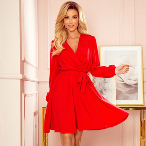 339-1 Belted Flared Mini Dress In Red