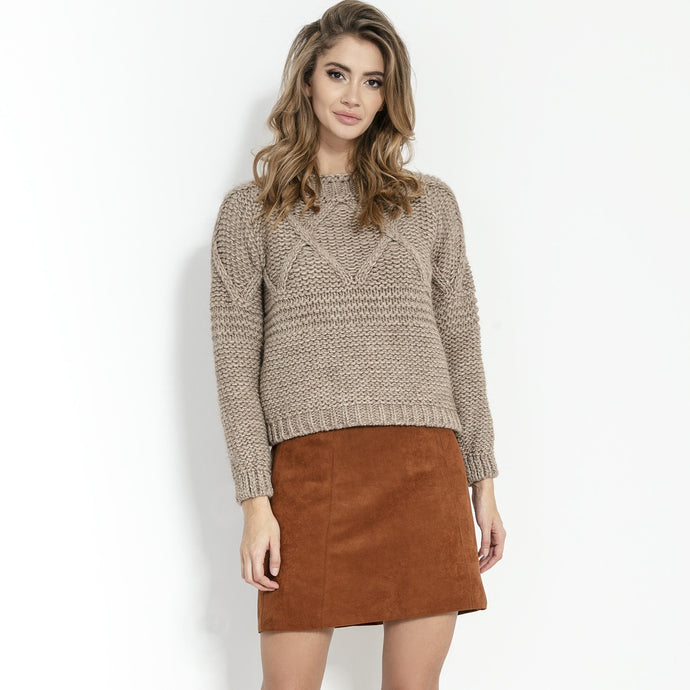 F861 High-Neck Chunky-Knit Sweater In Brown