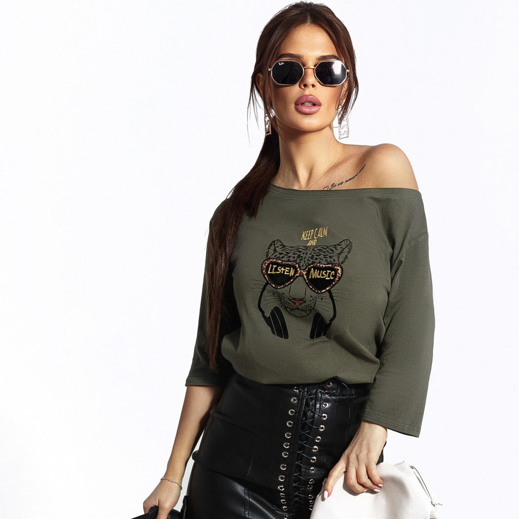 102-13 Embroidered Leopard Asymmetric Cotton-Blend Blouse In Khaki-Green